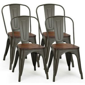 Set of 4 Stackable Tolix Style Metal Wood Dining Chair for Sale in Bakersfield, CA