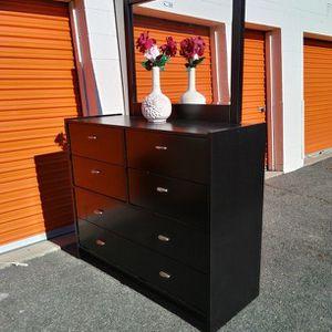 Modern Black Dresser With Big Mirror Great Condition for Sale in Fairfax, VA