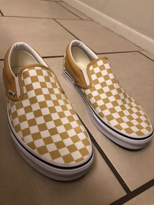 Size 11.5 men's white/yellow checkered slip-on vans for Sale in Glendale, AZ