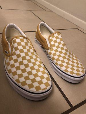 Size 11.5 men's white/yellow checkered slip-on vans for Sale in Glendale, AZ