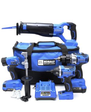 Buy a Kobalt 24-Volt Max 4-Tool Brushless Power Tool Combo Kit with Soft Case (1-Battery Included and Charger Included) (672826), get a Kobalt 24-vol for Sale in Austin, TX