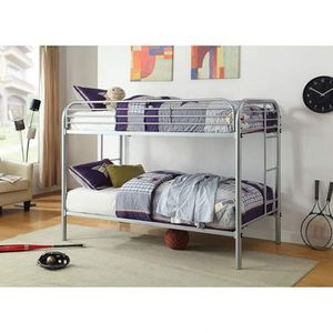 SILVER FINISH METAL FRAME TWIN OVER TWIN SIZE BUNK BED + MATTRESS LITERA COLCHONES for Sale in Riverside, CA