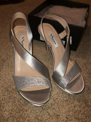 Silver heels- brand new, size 9 for Sale in McLean, VA