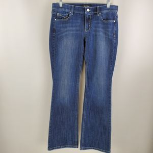 White House Black Market Womens Noir Boot Leg Low Rise Embellished Jeans Size 8S for Sale in Gresham, OR
