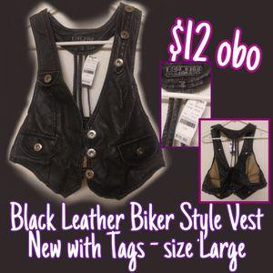 NEW Last Kiss black leather vest size Large for Sale in Sanger, CA