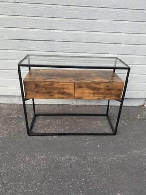 Industrial Console Table, Tempered Glass Table with 2 Drawers and Rustic Shelf, Decoration Sideboard, in Hallway Lounge or Foyer, Stable Iron Frame for Sale in Corona, CA