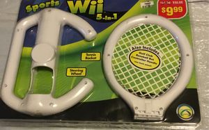 Baseball bat controller golf Steering wheel tennis racket sport for wii 5into1 for Sale in North Las Vegas, NV