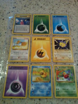 Vintage 1990's Pokemon/9 cards/4- energy/ trainer/ doduo/ Pikachu/ Psyduck/ weepinbell for Sale in Dearborn Heights, MI