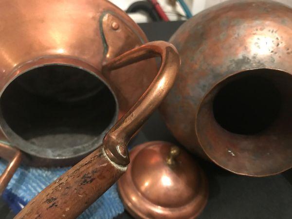 5- copper pots some vintage 24 each all$110
