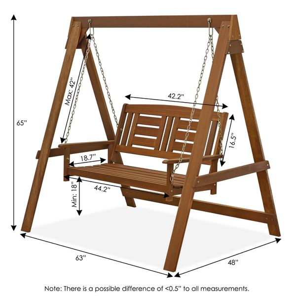 Hanging Porch Swing with Stand in Teak Oil Home Garden Use