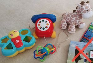 Baby toy lot: phone pull toy, shape sorter, twisty grab toy, musical head moving giraffe for Sale in Santa Ana, CA