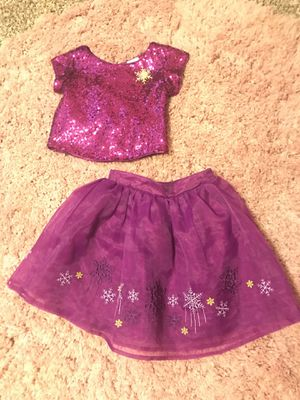 Like new Disney Store Frozen Elsa purple sequin dress skirt 4T girls for Sale in Orlando, FL