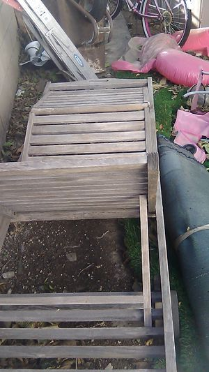 SOLID TEAK LOUNGERS $50 FIRM I HAVE TWO for Sale in San Bernardino, CA