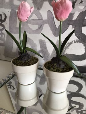 Set of 2 Artificial potted pink bulb arrangement from Target for Sale in Alexandria, VA