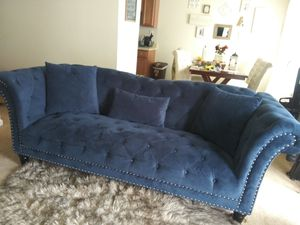 Royal Blue Suede Boutique Style Couch for Sale in Newport News, VA