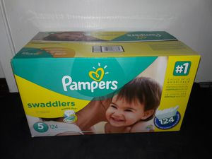 Pampers Swaddlers Size 5 (124 diapers) I will not accept less. for Sale in Garland, TX