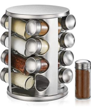 Revolving Countertop Spice Rack - Stainless Steel Spice Organizer with 16 Seasoning Jars, Large Standing Cabinet Seasoning Tower for Kitchen for Sale in Alhambra, CA
