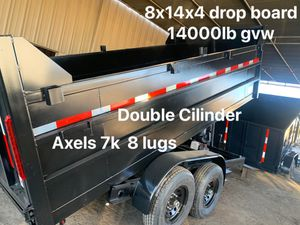 Dump trailer 8x14x4 14000lb drop board $8500 cash not finance for Sale in Chino, CA