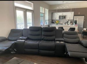 All black leather recliner sectional for Sale in Buffalo, NY