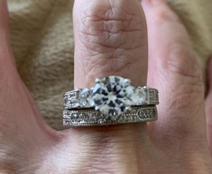 New 2 piece CZ sterling silver 925 wedding ring size 9 for Sale in Palatine, IL