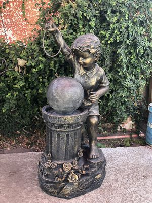 Nice sturdy heavy duty resin young boy water fountain needs pump for Sale in Modesto, CA