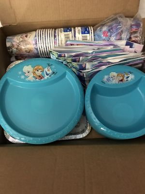 Frozen themed party favors and baby / toddler plates, bowls, forks, and spoons for Sale in San Antonio, TX