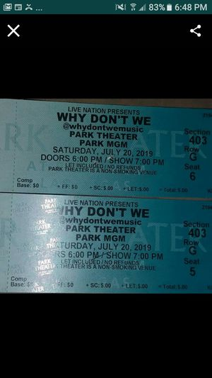 Why Don't We Concert tickets for Sale in Las Vegas, NV