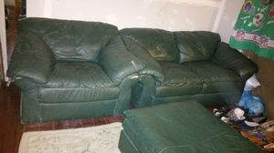 Green leather love seat chair & ottoman for Sale in Pittsburgh, PA