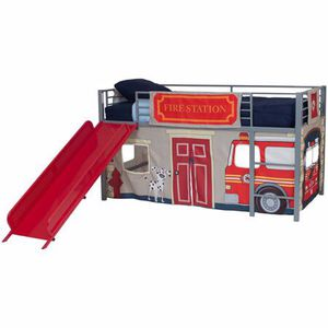 Boys' Fire Department Twin Metal Loft Bed with Slide, Red for Sale in Fairfax, VA