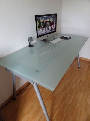 Frosted glass desk. Legs are height adjustable for Sale in Washington, DC