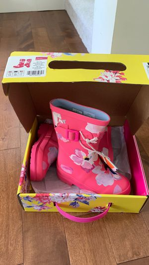 NWT Joules rainboots Welly pink floral 11 little kid for Sale in Mill Creek, WA