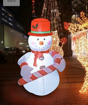 New SEASONBLOW 4 Ft Inflatables Christmas Snowman with Hat, Hold Candy Stick Decorations Indoor Outdoor for Party Home Yard Lawn for Sale in Hacienda Heights, CA