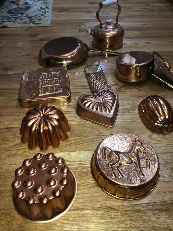 12 piece Copper Kitchenware Cooking, Baking & Decoration Set, Pot Pan Baking Bundt Cake, etc