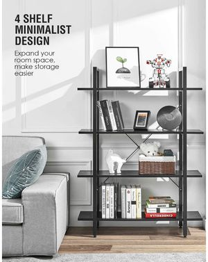 Wood Bookshelf 4 Tier 41Wx12Dx55H inches Bookcase Solid Industrial Bookshelf, Sturdy Bookshelves w/ Steel Frame Storage Organizer Hom for Sale in Ontario, CA