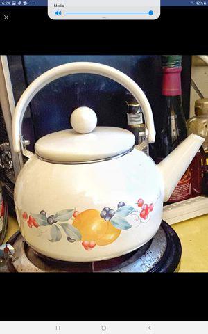 Corelle abundance fruit patterned enamelware tea kettle pot - SUPER ! for Sale in Saginaw, MI