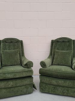 Vintage Retro Olive Wingback Chairs 70s for Sale in Westminster,  CA