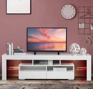 BRAND NEW ELEGANT TV STAND WITH LED LIGHT MODERN DESIGN FOR MULTIPLE USE TV STAND/BOOK SHELF/GAMING/DISPLAY STAND for Sale in Houston, TX