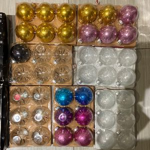 Glass Christmas Ornaments (23 Plain Black)(1 LLBlack Glitter)(12 Plain Gold)(8 Glitter Gold)(40 Clear)(7 Glitter Pink)(1purple&2Blue) for Sale in Hollywood, FL