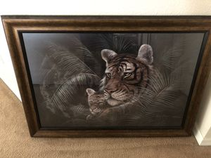 Large Framed Art Print, Mother Tiger and Cub for Sale in Palmetto, FL