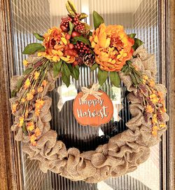 """New 18"""" Fall Burlap Wreath for Sale in Cypress,  TX"""