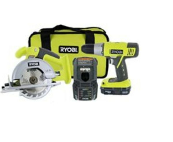"""ryobi p825 18v one+ cordless lithium ion power tool starter kit (includes 1/2"""" drill / driver, 5 1/2"""" circular saw, compact battery, charger,"""