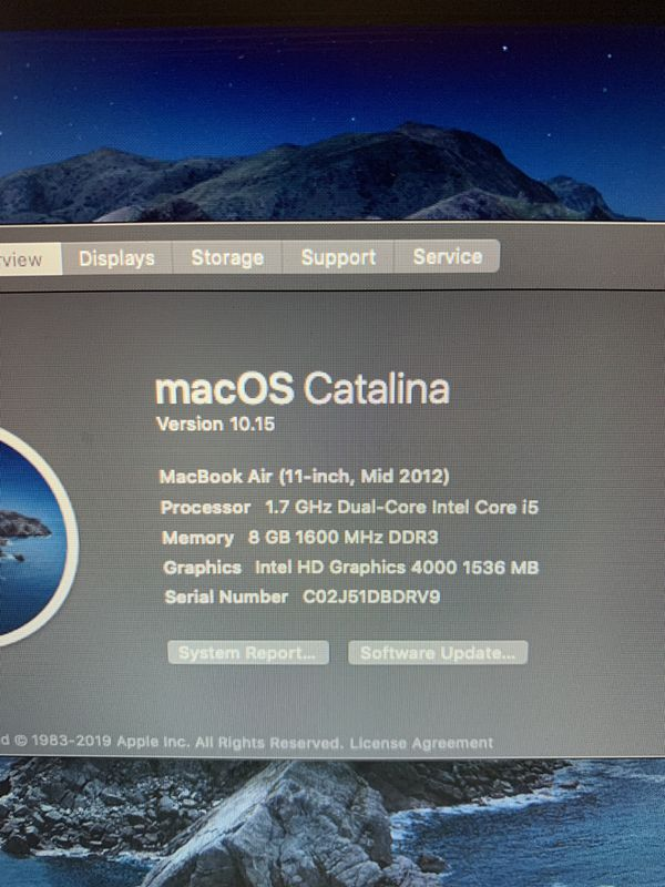 Apple MacBook Air laptop year 2012 | 11.6 in | i5 | 128SSD | 8GB | macOSX Catalina 10.15 | New Battery + Charger + Open Office