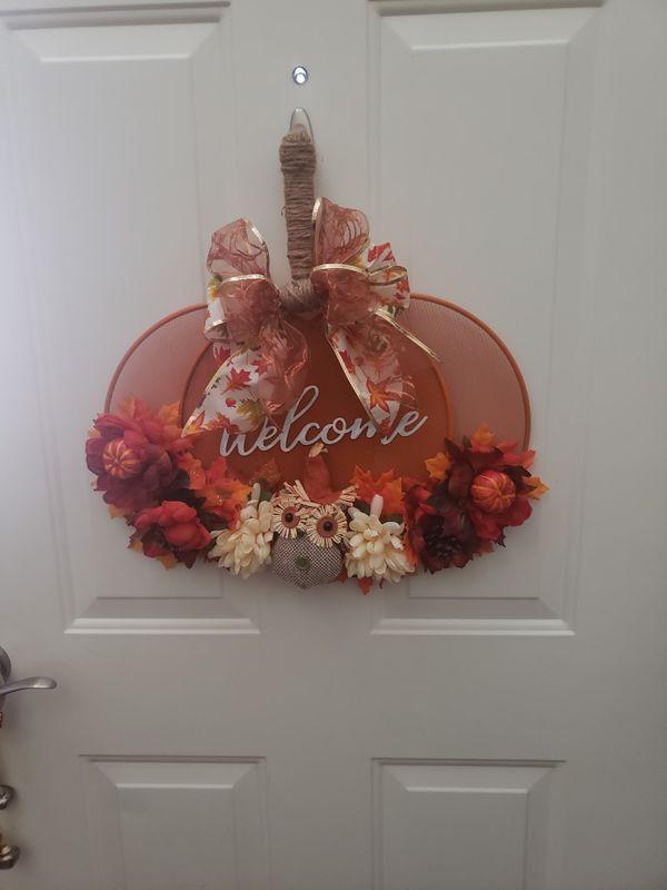 Fall Harvest Welcome Pumpkin Sign Wreath