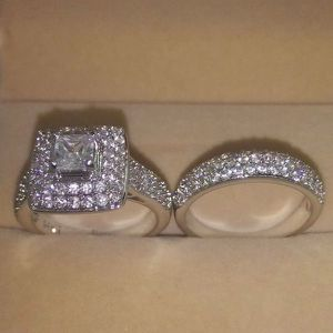 Stamped 925 Sterling Silver Engagement/ Promise / Wedding Ring Set for Sale in Sacramento, CA