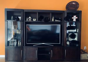Entertainment Center (4 piece) with Lighted Shelves, Glass Door Display & Storage for Sale in Cypress, TX