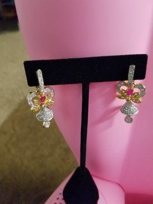 Ruby &cz diamond earrings for Sale in Woodlawn, MD