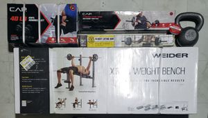 New! Weider XR 6.1 Weight Bench, Golds Gym Weight Lifting Bar, CAP Curling Bar, 40lb Vinyl Dumbells & 25lb Kettle Bell for Sale in San Antonio, TX