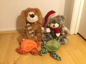 4 Stuffed animals turtle, dog, bear for Sale in San Diego, CA