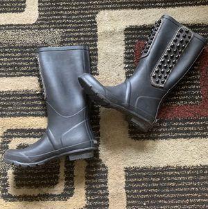 BCBG Maxazria Womens Black Rubber Studded Rain Boots Size 8 Leather Upper for Sale in College Park, GA