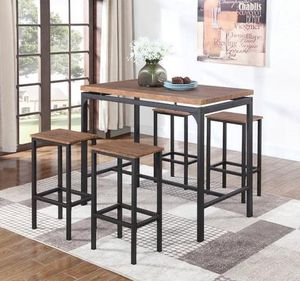 5pcs Industrial Style Bar Table Height - table + 4 stools ( Bar Height , Not Counter Height ) for Sale in Avocado Heights, CA